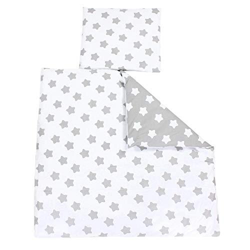 TupTam Unisex Baby Bettwäsche Wiegenset 4-teilig, Farbe: Sterne Grau/Sterne Weiß, Größe: 80x80...