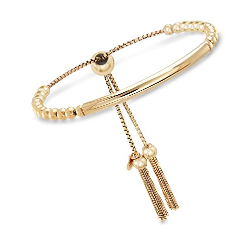 Ross-Simons Italian 18kt Yellow Gold Over Sterling Silver Beaded Bolo Bracelet