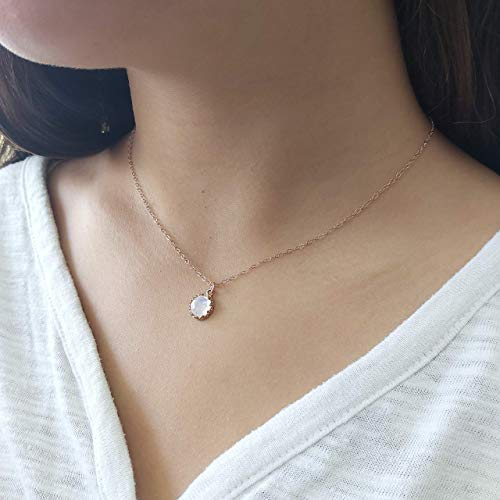 Moonstone Pendant Necklace Rose Gold Filled 8 mm stone June Birthstone Handmade Jewelry Length 16 inch + extender
