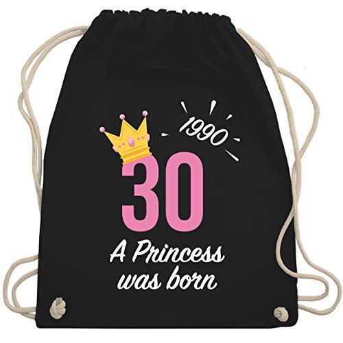 Shirtracer Geburtstag - 30. Geburtstag Mädchen Princess 1990 - Unisize - Schwarz - turnbeutel 30 geburtstag - WM110 - Turnbeutel und Stoffbeutel aus Baumwolle