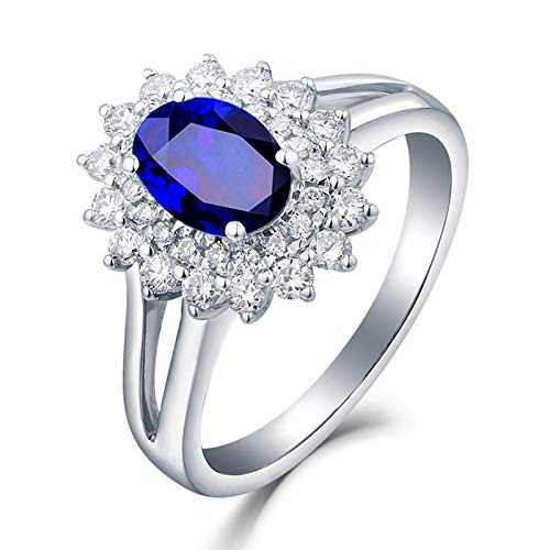 Adokiss Jewellery 18 carat ring, sunflower with oval sapphire 0.45/0.6/1/1.3 ct wedding ring, women's rings, engagement, white gold, anniversary gifts, birthday gifts for girls. 1ct