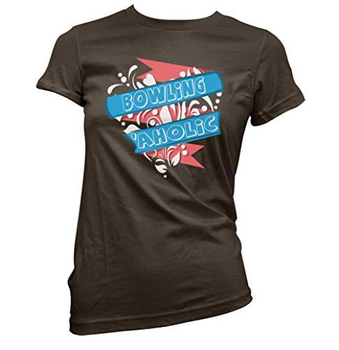 Bowling Aholic Damen T-Shirt (Abholen Farbe und Größe) - Dunkle Schokolade, XL (Größe 14)