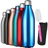 GeeRic Bottiglia Termica 1 Litro, 1L Borraccia in Acciaio Inox+Spazzola+Borsa Portatile Bottiglia...