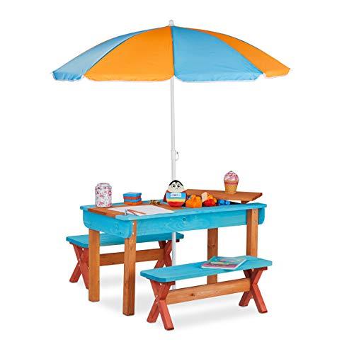 Relaxdays Kinderzitgroep voor tuin, hout, speeltafel, set van tafel, 2 x zitbank & parasol, outdoor kindermeubel, kleurrijk