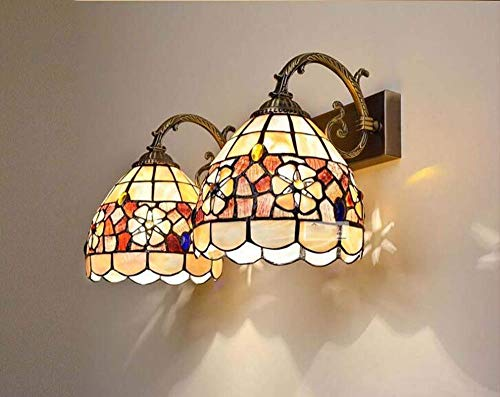 ToroDWallLight Tiffany Style wandlamp, parels, camellia, natuurlijk, shell, wandlampen, verlichting voor slaapkamer, hal, trap, balkon, garderobe, brons, metalen basis A