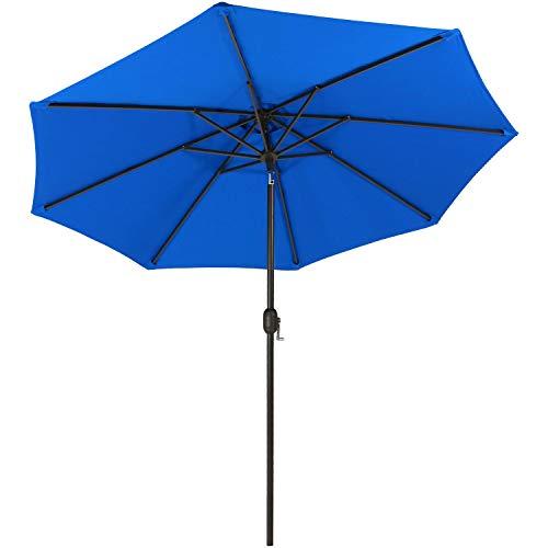 Sunnydaze Sunbrella Patio Umbrella with Auto Tilt and Crank, 9 Foot Outdoor Market Umbrella, Rust Resistant Aluminum, Pacific Blue