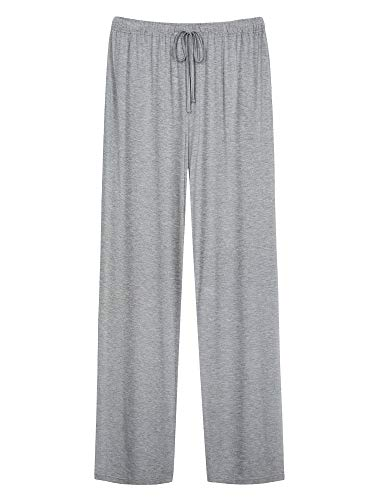 WiWi Men's Bamboo Knit Sleep Pants Lightweight Pajamas Bottoms Lounge Pant with Pockets Plus Size Loungewear S-4X, Heather Grey, Medium