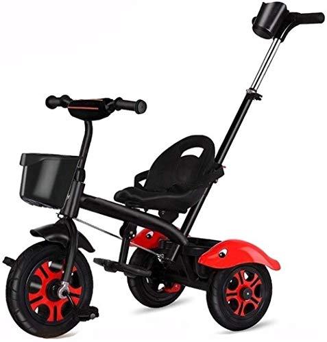 Sillas de paseo para niños triciclo 4 en 1 cochecito de bebé triciclo con asa de empuje, asiento trasero para niños/niñas 3 en 1 para padres empujar la manija Productos para bebés