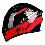 qwert Casco Integrale Apribile, Casco Modulare per Motociclette alla Moda per Quattro Stagioni, Casco Unisex Approvato DOT, Visiera Parasole Antiappannamento a Doppia Lente
