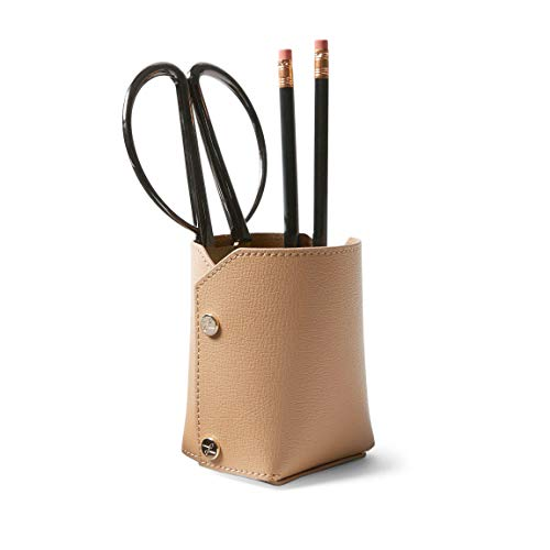 Leatherology Tan/Tan Suede Modern Pencil Cup, Snap Construction, Lays Flat for Easy Storage, Made with Italian Leather
