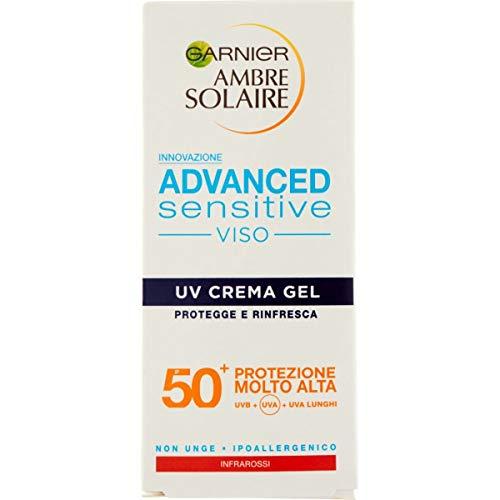 Garnier Ambre Solaire UV Crema Gel Viso Advanced Sensitive, SPF 50+, Protezione Molto Alta, 50 ml