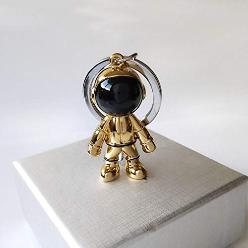 aolongwl Llavero de moda hecho a mano 3D astronauta robot espacial llavero llavero de aleación de regalo para hombre amigo oro