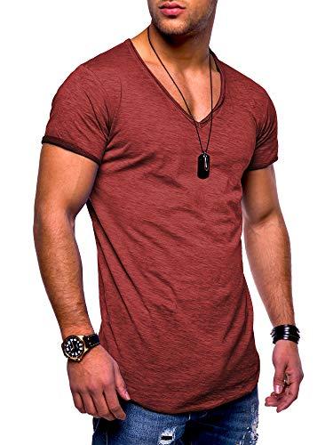 behype. 20-0002 - Maglietta da uomo a maniche corte con scollo a V, stile oversize Rosso vinaccia_washed M