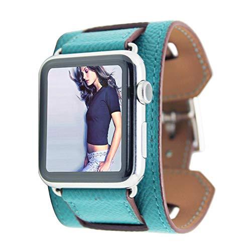 TIANQ Cinturón De Pulsera De Puño Clásico Apple Watch 42Mm 38Mm Band Correa De Cuero Real para Iwatch 40Mm 44Mm Band Series 5 4 3 2, Verde Pavo Real, para 38Mm 40Mm