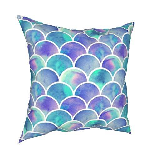 Uliykon Hermosas fundas de cojín decorativas coloridas de escamas de peces suaves y cuadradas, fundas de almohada para sofá, dormitorio, coche, con cremallera invisible, 45,7 x 45,7 cm