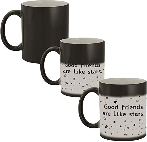 Good Friends Are Like Stars, They Are Always There Ceramic Heat Sensitive Magic Mug -11 oz.- Great Color Changing Novelty Gift Cup For Best Friends, Women, Long Distance Friends, Girlfriend, Boyfriend