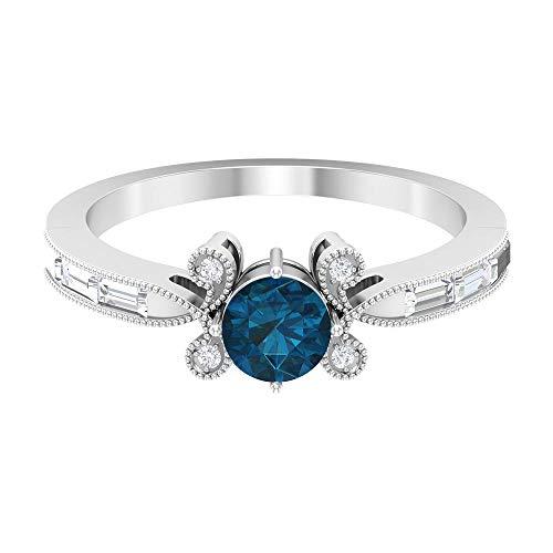 Anillo solitario de topacio azul Londres de 5,00 mm, anillo de diamante Baguette HI-SI, anillo de oro macizo para mujer (calidad AAA), 14K Oro blanco, Size:EU 47