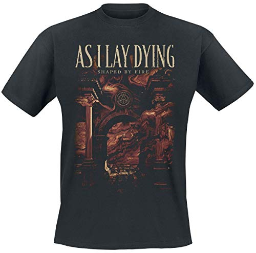 As I Lay Dying Shaped by Fire Hombre Camiseta Negro L, 100% algodón, Regular