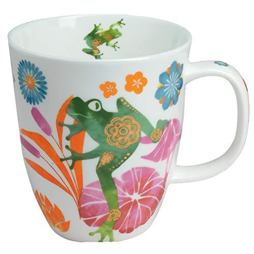 TeaLogic Teebecher Tasse Fritz - Becher Teetasse mit Frosch Blumen Motiv - Tea Logic Fine Bone China (350ml)