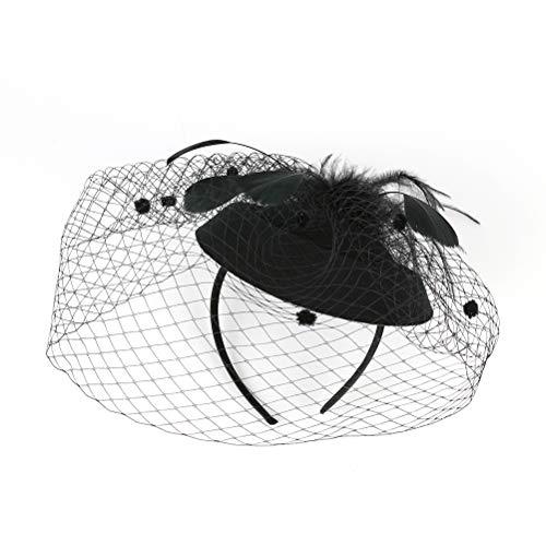 Lurrose Tocados diadema plumas velo té fiesta sombreros vintage tocados accesorios para...