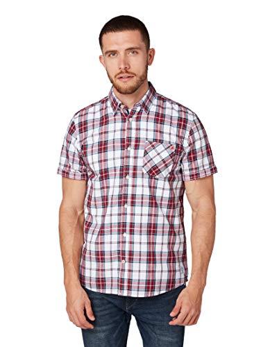 TOM TAILOR Herren Blusen, Shirts & Hemden Kariertes Kurzarmhemd red Colorful Check,L,18989,4000