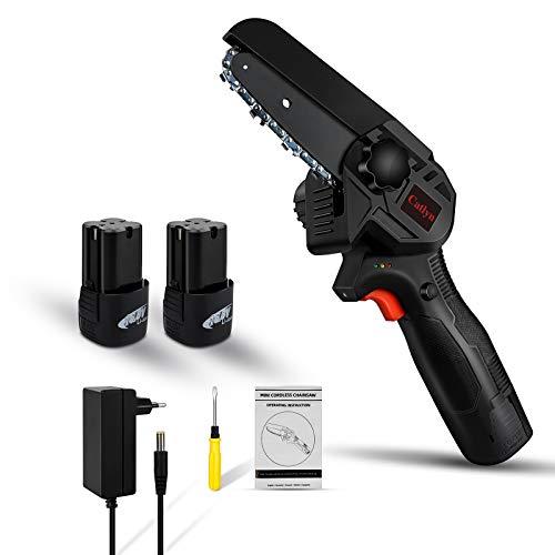 Mini tronçonneuse portative sans fil avec chargeur et 2 piles, Éclairage LED, tronçonneuse électrique sans fil rechargeable de 4 pouces 16.8 V, pour la coupe du bois et du métal