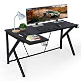 """L Shaped Desk - 61"""" Black Corner Computer Table Desk for Home Office Study Writing Gaming PC Table Workstation, K Legs & 2 Monitors Design, Great Gift"""