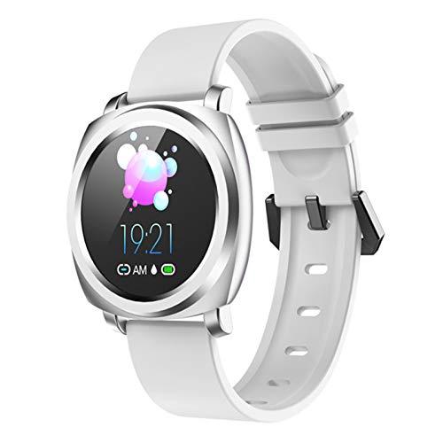 LTLJX Mujer Reloj Inteligente Smartwatch Impermeable IP67 Hombre Pulsera Actividad con Pulsómetro Monitor de Sueño Pantalla Táctil Reloj Deportivo para Android iOS,Blanco