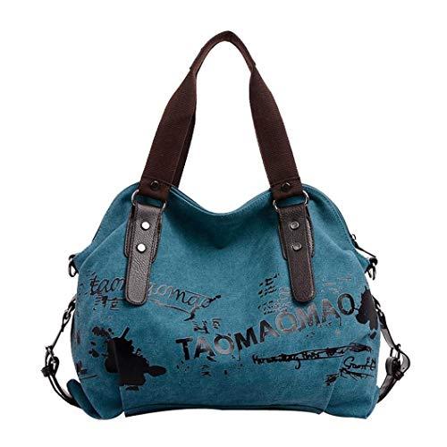 Logobeing Bolso Bandolera Grande Bolsos de Hombro Mujer Lona Shoppers de Grande y Baratos Bolso mensajero para estudiante (Azul)