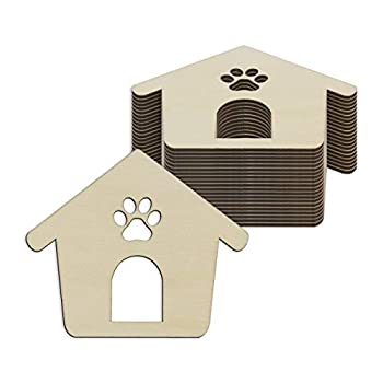 Creaides Wooden Dog Paw House Cutout Crafts Cat Paw House Wood Ornaments Gift Tags for DIY Project Wedding Birthday Party Decoration  3.94x3.35 in 20 Pcs
