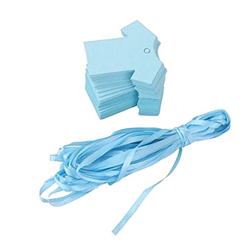 Da.Wa 100pcs Etiquetas de Papel Azul Se Puede Escribir en Blanco Etiqueta de Bricolaje para Hornear Regalo Bolsa 5.5cm*5.5cm