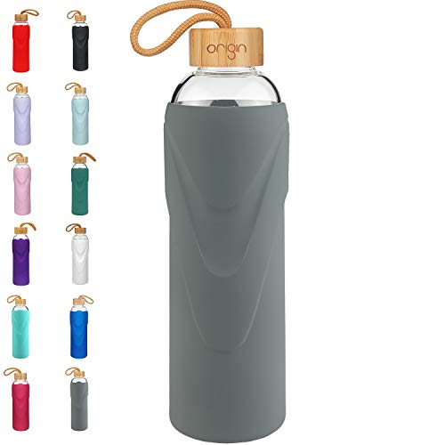 Origin Best BPA-Free Glass Water Bottle with Protective Silicone Sleeve and Bamboo Lid - Dishwasher Safe (Charcoal, 32 oz)