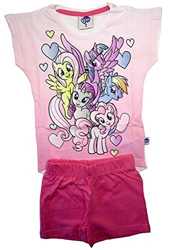 MLP Mädchen My Little Pony Kurzarm Pyjama Pinkie Pie Kinder Shorty Schlafanzug Kurze Hose (weiß/rosa, 110)