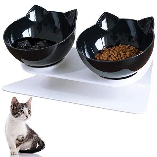 VieVogue Ciotola per Gatti con Supporto Rialzato Cibo e Acqua Trasparente Inclinata Antiscivolo 15°Animali Rimovibile Cani di Piccola Taglia (Double Black Bowls)