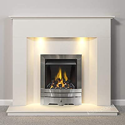 White Modern Marble Stone Fire Surround Wall Gas Fireplace Suite Silver Inset Gas Fire with Lights