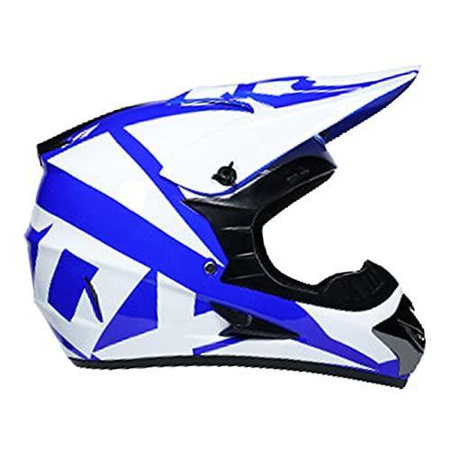NINOMI Cascos De Motocross, con Gafas + Guantes + Protector Facial Blanco + Azul Casco Totalmente Cubierto Ventilación De Moda Traje De Casco De Carreras Forrado Desmontable ⭐