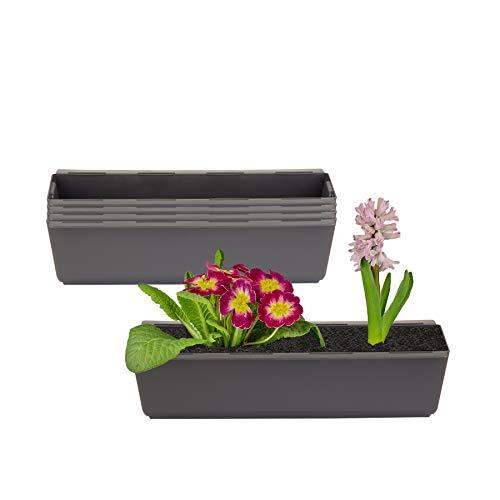 BigDean 4er Set Pflanzkasten inkl. Aufhänger für Europalette - Blumenkübel in Anthrazit - LxBxH ca. 37 x 13,5 x 9,5 cm - Ideal zum Hängen & Stellen - Robust & wetterfest -