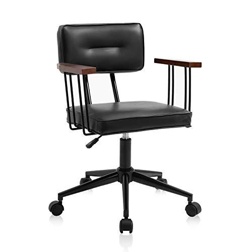 YAMASORO Bürostuhl Schreibtischstuhl Ergonomisch Höhenverstellbar Drehstuhl mit Rollen Rückenlehne Armlehne Chefsessel Leder Möbel Für Arbeitszimmer Computerstuhl Office Chair