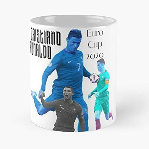 Eurocup 2021 Tshirt Cristian Ronaldo - Taza de café de cerámica blanca de 11 onzas