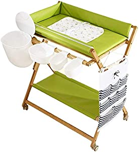 H yina QZ  Wooden Foldable Changing Table Wheels Green  Boys Waterproof Portable Diaper Station Dresser Organizer