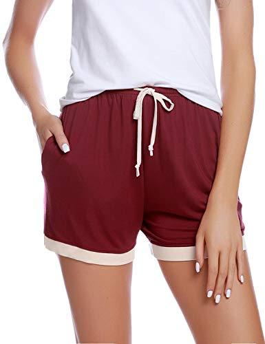 Abollria Shorts Damen Schlafhose Kurze Sporthose Baumwolle Schlafanzughose Pyjamahose Kurz Hosen Yoga Running Gym Beilaufige Elastische Rot-1, M