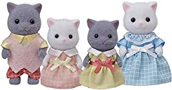Persian Cat posable collectable figures Four piece set: Father, mother, and two girls Dressed in removable fabric clothing Sylvanian Families' miniature dollhouses, playsets and figures are timeless and classic high-quality toys. Suitable for ages th...