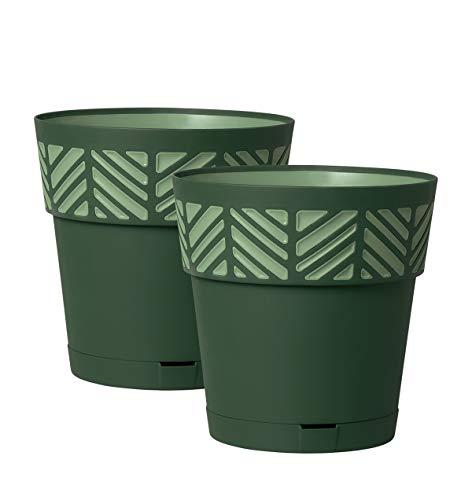 Kreher 2 Stück Pflanztöpfe ORFEO Hochwertiges 3D-Design in leicht Matter Ausführung mit integrierten Wasserspeicher (XL, Grün)