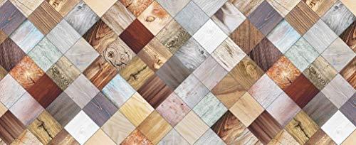 HomeLife Tappeto Cucina Antiscivolo Lavabile in Vinile 52X200 Made in Italy | Passatoia Antimacchia in PVC Interni ed Esterni Stampa Pavimento Parquet | Tappeti Runner Lungo in Gomma [200 cm]