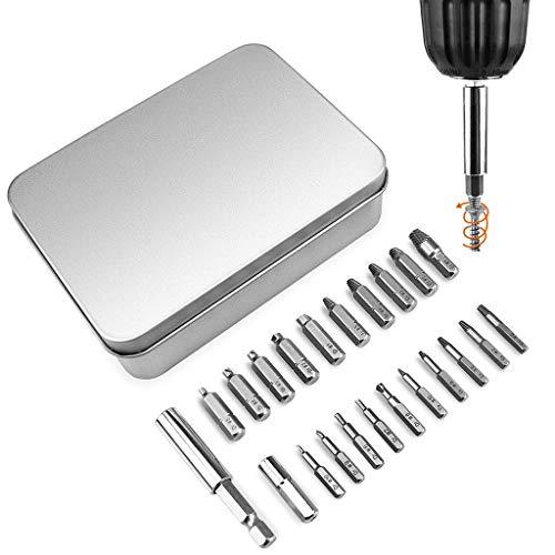 Bohrer für Elektro- und Handwerkzeuge 22pcs / set Screw Extractor Left Hand Bohrer Set Easy Out Bol-t Kit Beschädigte Zerbrochen