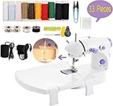 Mini Sewing Machine, Handheld Portable Electric Sewing Machines for Beginners Kids, Dual Speed Household Crafting Mending Machine Sewing Kit Repairing Tailor Machine with Extension Table, Lights, Foot Pedal for Home Crafting & DIY Project