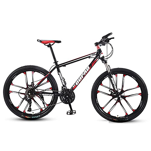 Mountain Bike,Adult Offroad Road Bicycle 26 Inch 21/24/27 Speed Variable Speed Shock Absorption, Teenage Students, Men and Women Sports Cycling Racing Ride BK-RD 10wheels- 24 spd