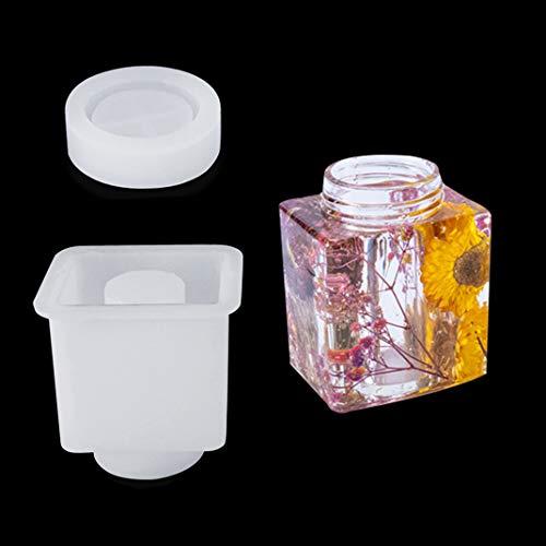 iSuperb Molde de Epoxi de Botella con Tapa Moldes de Resina de Silicona Frascos Pequeños Resina Epoxi Moldes para Botellas Pequeñas para Almacenamiento de Accesorios de Joyería
