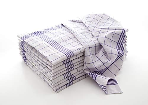 Hometex Premium Textiles Juego de 10 Toallas de té, Toallas secas, Toallas Multiusos, Cuadros Azules de 50x70 cm. Hechos de 100% algodón, ÖKO-Tex Standard, de Primera Calidad y versátiles.