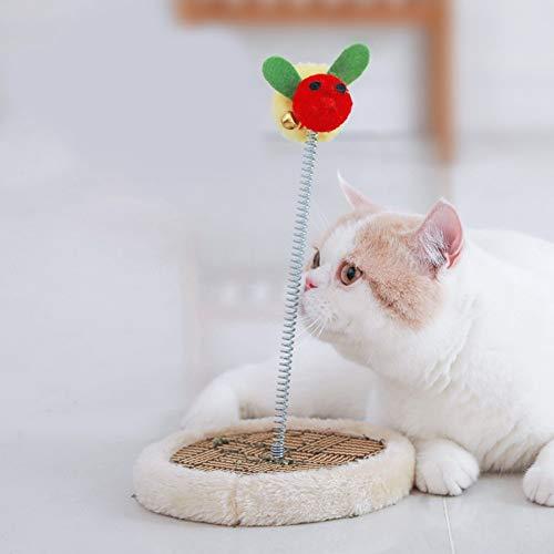 SZMYLED Katzenspielzeug, Kratzbaum, 16 x 16 x 27 cm, ausgestattet mit Federpfosten, Spielzeugbällen und rundem Teppich, Bee Klettergerüst für Katzen, halbrund, One size